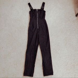 Pants - Pinstriped black and white jumpsuit o-ring zipper